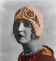 Aviator cloche-style hat from the 1920s.