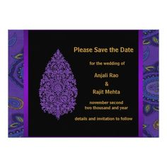 Gold Purple Peacock Paisley Save The Date Invite
