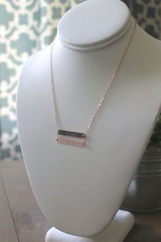 Double Hand Stamped Bar Necklace Gold Filled Necklace by LucyMint