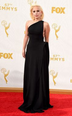 Lady Gaga from Best Dressed at the 2015 Emmys  No meat, no unicorn, no headpiece...Just Gaga in a Brandon Maxwell LBD (long black dress) and we loved it!