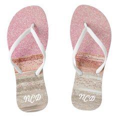 Elegant Pink and Copper Glitter Stripes Monogram Flip Flops - monogram gifts unique design style monogrammed diy cyo customize