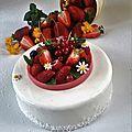 Recette pour 1 cercle de 16 cm de diamètre et de 4,5 cm de hauteur. Composition Biscuit joconde coco Sirop passion Crémeux fraises ...