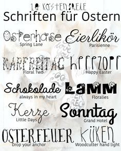 10 kostenfreie Schriften für Ostern | waseigenes.com Doodle Lettering, Typography Fonts, Hand Lettering, Spring Decoration, Easter Bunny Pictures, Computer Font, Time Planner, Framed Words, Silhouette Curio