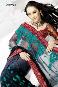 $177 Fabulous Embroidered Net Saree from cbazaar