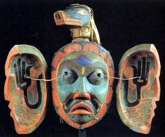Transformation mask collected by Norwegian J.A. Jacobsen at Tsaxis, Vancouver Island, 1881 -- Berlin Museum of Ethnology