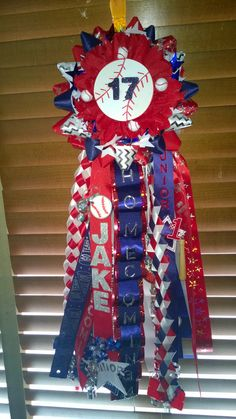 Red, white and navy homecoming mum, garder, baseball garder, baseball mum, baseball