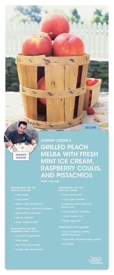 Hosting a party? Guests will love this Grilled Peach Melba with Fresh Mint Ice Cream, Raspberry Coulis and Pistachios recipe from Macy's Culinary Council Chef Johnny Iuzzini