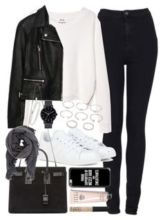 """""""Outfit with white sneakers"""" by ferned ❤ liked on Polyvore featuring Topshop, Acne Studios, Zara, adidas, Yves Saint Laurent, Isabel Marant, Forever 21, The Horse, Monica Vinader and Casetify"""