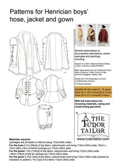 Boy's Henrician Hose, Jacket, and Gown Pattern - Renaissance Fabrics Renaissance, Larp, Tudor Tailor, Clothing Patterns, Sewing Patterns, 16th Century Clothing, Black Velvet Jacket, The Royal Collection, Gown Pattern