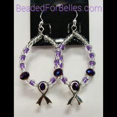 Purple and Silver Hoop Earrings for Lupus, Fibromyalgia Awareness