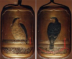 Case (Inrō) with Design of a Perched Hawk. 19th century