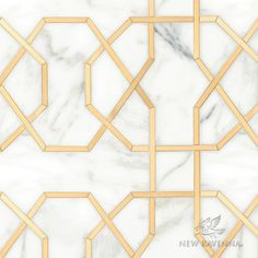 Collins, a waterjet stone mosaic, shown in honed Calacatta Gold and Brass, is part of the Trove® collection for New Ravenna. Stone Mosaic, Mosaic Tiles, Marble Tiles, New Ravenna, Unique Flooring, Hall Flooring, Parquet Flooring, Calacatta Gold, Floors And More