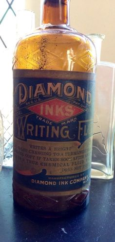 "Antique Labeled ""Diamond Inks"" Ink Bottle early 1900's Carter Ink"