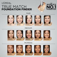 loreal true match foundation finder - skin tone, undertone