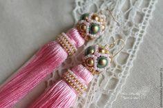 Купить Серьги - кисти розовые. - розовый, модные серьги, стильные серьги, розовые серьги