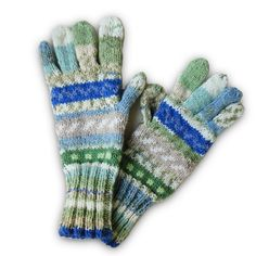 Hand Knitted Fairisle Gloves - Green Heather, Paradis Terrestre - Quality Greeting Cards, Gifts, Hand Knits, Luxury Christmas Decorations, Luxury British Made Accessories and Homeware