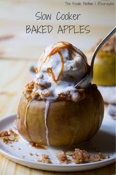 Slow cooker baked apples is a delicious holiday dessert that takes less than 10 minutes to make. Your slow cooker does all the work while you have time to tend to the main event. Easy to make gluten-free or vegan friendly versions too! | The Foodie Dietitian @karalydon