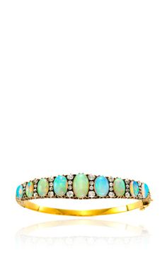 Antique Opal And Diamond Bangle by Simon Teakle for Preorder on Moda Operandi