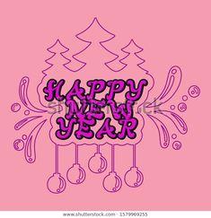 Vector Line Art Illustration Calligraphy Font เวกเตอร์สต็อก (ปลอดค่าลิขสิทธิ์) 1579969255 Happy New Year Vector, Calligraphy Fonts, Line Art, Illustration Art, Image, Line Drawings, Line Illustration, Stripes, Hand Lettering Fonts