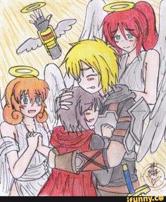 Aww! I love this bit of Lancaster art. So cute! Also yangs arm got into heaven lol.