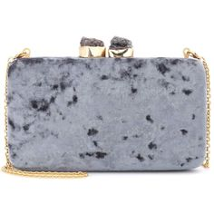 Margaux velvet box clutch Kayu ($260) ❤ liked on Polyvore featuring bags, handbags, clutches, chain handle handbags, clasp purse, hardcase clutch, kayu and dark grey purse