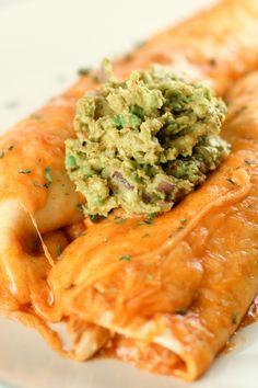Enchiladas with guacamole