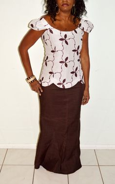 White And Brown Linen Two Piece African Attire, African Beige And Brown Two Piece Long Dress