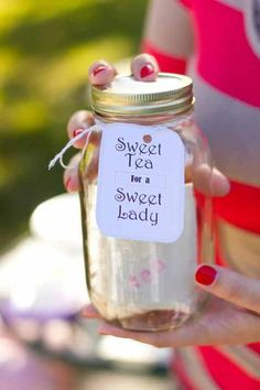 Mason jar with little canvas bags of tea and sugar…baby or bridal shower giveaway/favors