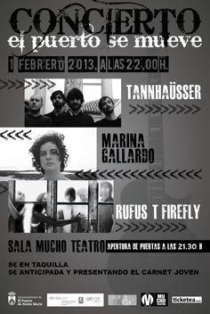 """""""El Puerto se mueve"""" llega a Mucho Teatro con las actuaciones de Tannhaüsser, Marina Gallardo y Rufus T Firefly.    Más información:  https://www.facebook.com/events/389971801096343/"""