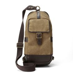 Leather & Canvas Sling Bag