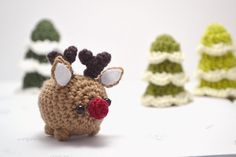 Rudolph the red nosed reindeer amigurumi from mohu