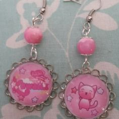 """kawaï cat pink"" boucles d'oreilles"