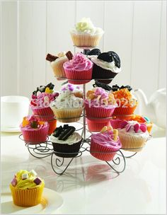 Free Shipping New Cupcake Stand Tree Holder Muffin Serving Birthday Cake 23 Cup Party 4 Tier-in Stands from Home & Garden on Aliexpress.com | Alibaba Group