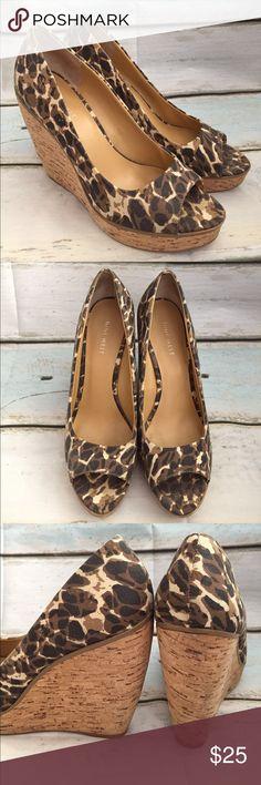 Nine West leopard print peep toe wedges Beautiful pair of wedges - minimal indications of wear - cork wedge Nine West Shoes Wedges