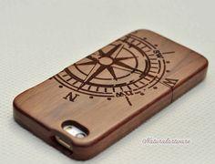 Walnut Compass Unique Handmade Natural Wooden phone case for Iphone 5s case ,Iphone5s,Iphone 5 case,Iphone 5C case ,Engraving Compass case on Etsy, $18.00