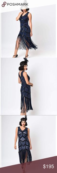 Breathtaking Fully Beaded 20's Style Flapper Dress This is hands down the most gorgeous flapper dress around! The beads are a beautiful shade of midnight blue. The black sequined pattern accents it perfectly. The dress is sheer so you can vary the color depending on your slip. This dress is brand new with tags and in perfect condition. I bought it new but it is a little to small for my bust. : (  Check out my closet for other great stuff! Unique Vintage Dresses