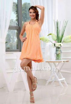 Empire Bridesmaid Dresses Bateau Short/Mini Chiffon Orange #graduationdresses #graduationdress