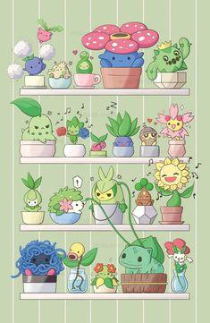 Pokemon Comics, Pokemon Memes, My Pokemon, Green Pokemon, Cute Kawaii Drawings, Cute Animal Drawings, Kawaii Art, Venusaur Pokemon, Pyssla Pokemon