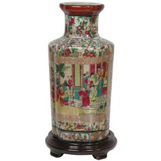 This piece features a distinct curved hexagonal vase design featuring high shoulders and a short neck. This vase is made of high-temperature fired, strong Chinese porcelain ceramic. Colorful Asian cou