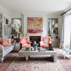 Kit Kemp's Drawing Room- finding an accent colour can transform an otherwise bland pallet.