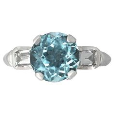 Vintage Aquamarine Ring with Diamonds in 18 ct White Gold ($2,380) ❤ liked on Polyvore featuring jewelry, rings, diamond jewellery, vintage diamond ring, aquamarine ring, white gold rings and aquamarine jewelry