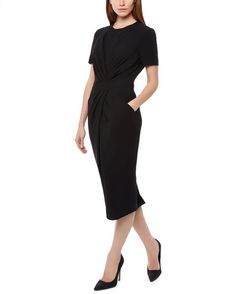 Pleated Drape Dress - Black - Model Image