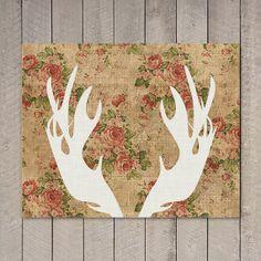 Moose Antlers Art Print, Vintage Floral, Downloadable Print, Instant Printable