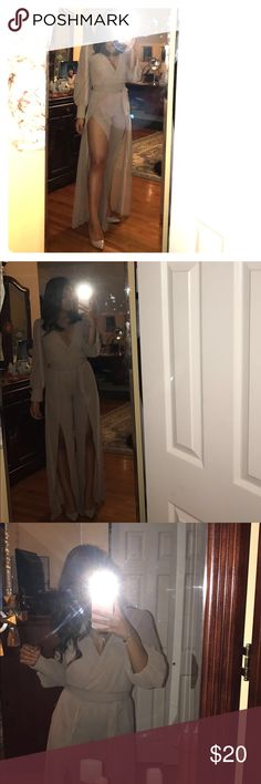 Can't Stop My Love Jumpsuit - Nude fashion nova Sexy v neck  Jumpsuit Long sleeve  Plunging Neckline Wide Leg 100% Polyester Made in USA .... in perfect condition never worn !!!!! Still has tag Fashion Nova Pants Jumpsuits & Rompers