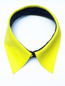 Eleven Objects - Neon Yellow Leather Collar with Navy Silk Crepe Collar Sta