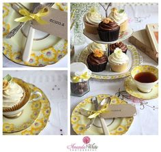 Yellow themed afternoon tea from www.simplyscrumptiouscupcakes.co.uk, vintage crockery from www.agathasteaparty & photos by www.awhitephotography.com