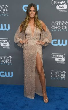 Heidi Klum from 2018 Critics' Choice Awards Red Carpet Fashion  Red carpet ready! The Project Runway host doesn't disappoint once again with this week's look.