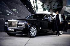 A sleek black Phantom takes centre stage in this fashion shoot.