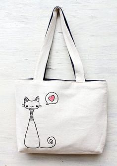 Items similar to cats in love / shoulder bag / minimalist line drawing / embroidery modern / reusable bags handmade on Etsy Sacs Tote Bags, Canvas Tote Bags, Cat Bag, Embroidery Bags, Denim Bag, Fabric Bags, Shopper, Reusable Bags, Cloth Bags
