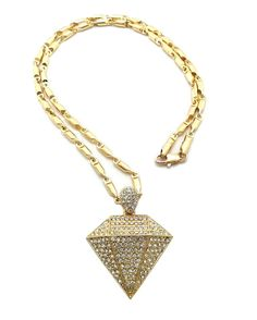 """DIAMOND SHAPE PENDANT & 24"""" BULLET CHAIN HIP HOP NECKLACE"""